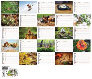 Přehled všech stránek rodinného plánovacího kalendáře s dubánky