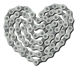 Srdce vytvořené z řetězu jízdního kola