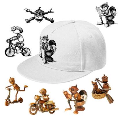 Čepice s rovným kšiltem a různými dubánčími motivy