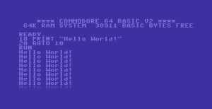 Tričko Hello World v Basicu Commodore C64