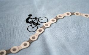 Detail vytištěného cyklistického motivu