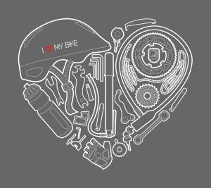 I love my bike – motiv s cyklovybavením poskládaným do tvaru srdce