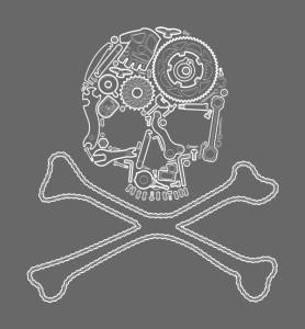 Cyklo pirát silnic – bílá verze potisku