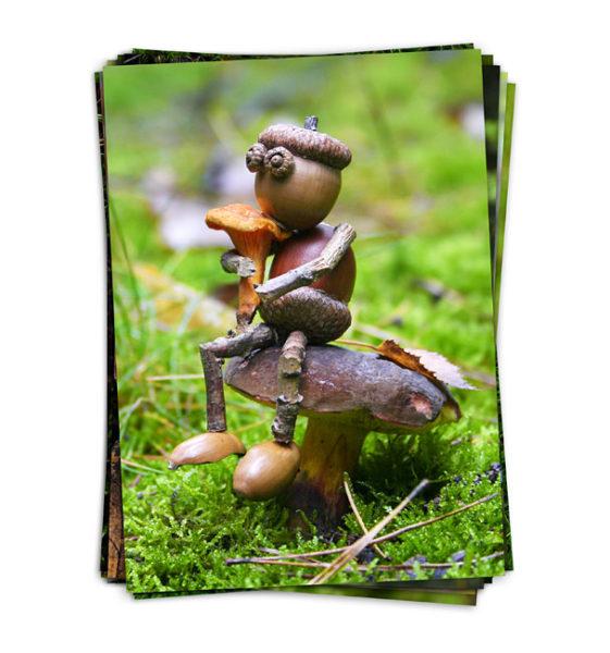 Dubánci na houbách - originální houbařské pohlednice