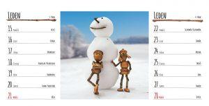 Lednová stránka stolního kalendáře s dubánky