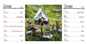 Červencová stránka stolního kalendáře s dubánky