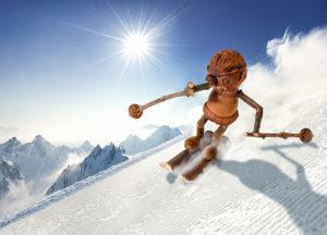 Zimní pohled s dubánkem na lyžích