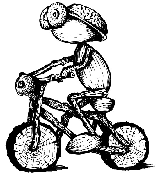 Kreslený dubánek na kole