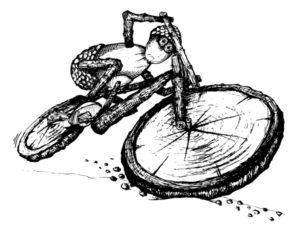 Trošku akčnější dubánčí cyklista