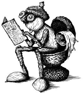 Motiv perem nakresleného dubánka, kterak čte noviny na záchodě
