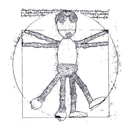 Motiv kresby lidského / dubánčího těla v kruhu ve stylu Leonardo da Vinci