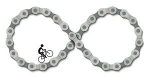 Motiv nekonečné cesty s cyklistou