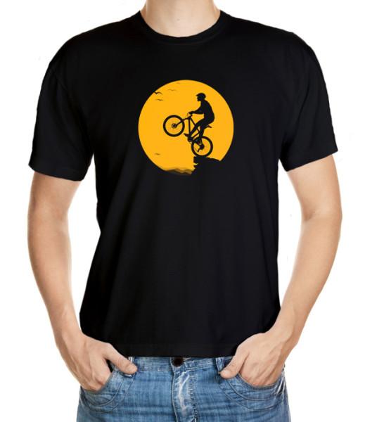 Tričko pro cyklisty s romantickým motivem Ocelového oře při západu slunce
