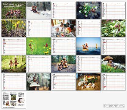 Náhled všech stránek dubánčího kalendáře
