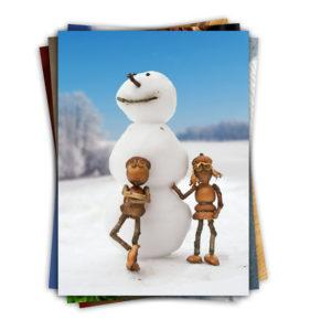 Zimní a jarní pohlednice s dubánky