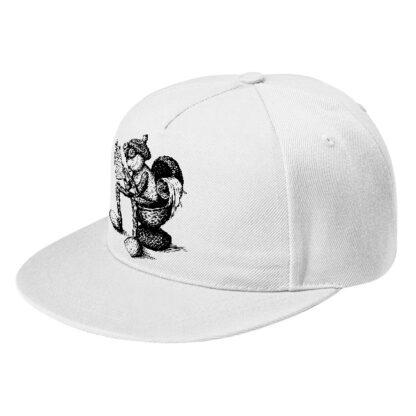 Čepice s rovným kšiltem a záchodovým dubánčím motivem