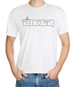 Tričko s ascii artem jedoucího cyklisty a nápisu biker