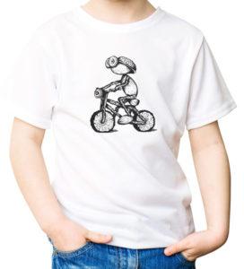 Tričko s cyklistou - dubánkem (perokresba)