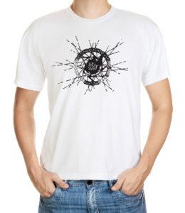 Tričko pro cyklisty se středem MTB kola, kotoučovou brzdou a nápisem Lets ride!