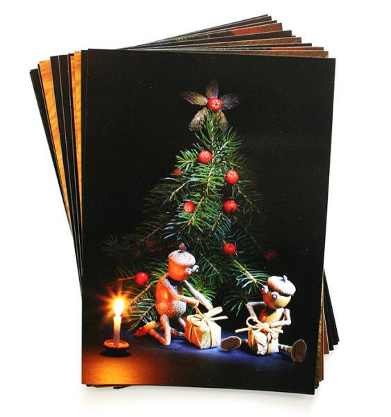 Vánoční pohlednice s dubánky