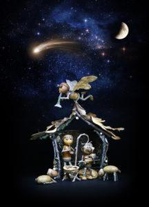 Vánoční pohled – betlém s dubánky